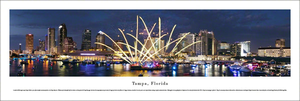 "Tampa, Florida ""Celebration"" Skyline at Dusk Panoramic Poster - Blakeway Worldwide"