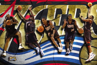 "Philadelphia 76ers ""Starting 5"" Poster (Iverson, Mutombo, Coleman, McKie, Snow) - Costacos 2002"