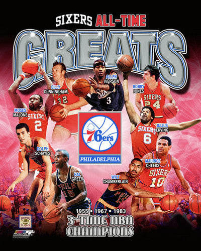 "Philadelphia 76ers ""All-Time Greats"" (9 Legends, 3 Championships) Premium Poster Print - Photofile"