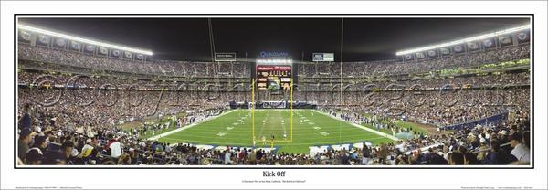"San Diego Chargers ""Kick Off"" Qualcomm Stadium Panoramic Poster Print - Everlasting"