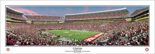 "Alabama Crimson Tide Football ""21 Yard Line"" Bryant-Denny Stadium Panoramic Poster Print"