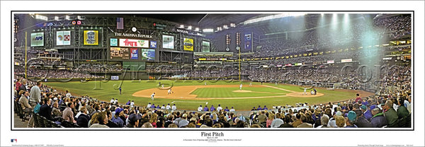 Arizona Diamondbacks Chase Field First Pitch (1998) Panoramic Poster Print - Everlasting Images