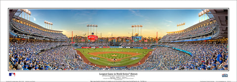 "Los Angeles Dodgers ""Longest Game in World Series History"" (2018) Dodger Stadium Panoramic Poster Print"