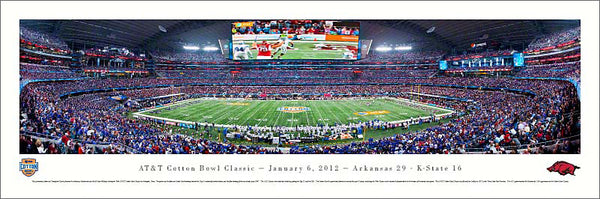 Cotton Bowl 2012 Cowboys Stadium Panoramic Poster Print (Arkansas 29, K-State 16) - Blakeway Worldwide