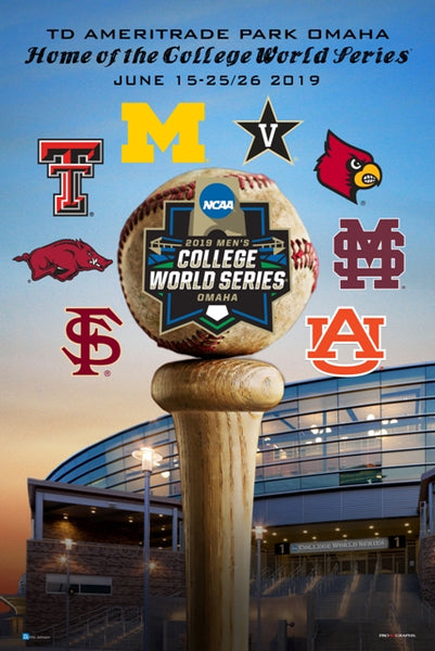 NCAA Baseball 2019 College World Series Official Event Poster - ProGraphs Inc.