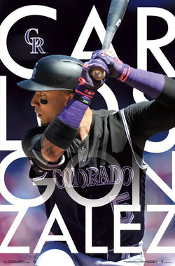 "Carlos Gonzalez ""Intensity"" Colorado Rockies Official MLB Baseball Poster - Trends 2017"
