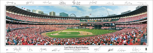 "St. Louis Cardinals ""Last Pitch at Busch Stadium"" (10/2/2005) Panoramic Poster w/17 Sigs. - E.I."