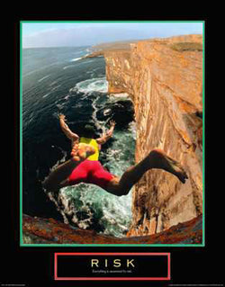 "Cliff Diving ""Risk"" Motivational Inspirational Poster Print - Front Line"
