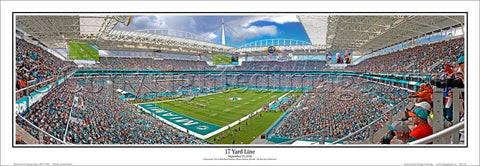 "Miami Dolphins ""17 Yard Line"" Hard Rock Stadium Panoramic Poster Print - Everlasting Images"