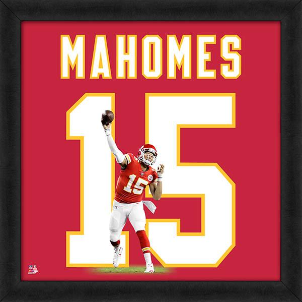 "Patrick Mahomes ""Number 15"" Kansas City Chiefs FRAMED 20x20 UNIFRAME PRINT - Photofile"