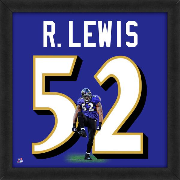 "Ray Lewis ""Number 52"" Baltimore Ravens Classic NFL FRAMED 20x20 UNIFRAME PRINT - Photofile"