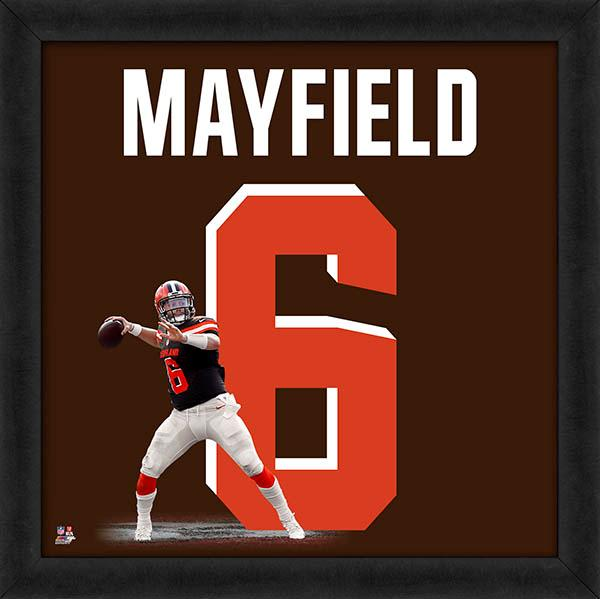 "Baker Mayfield ""Number 6"" Cleveland Browns FRAMED 20x20 UNIFRAME PRINT - Photofile"