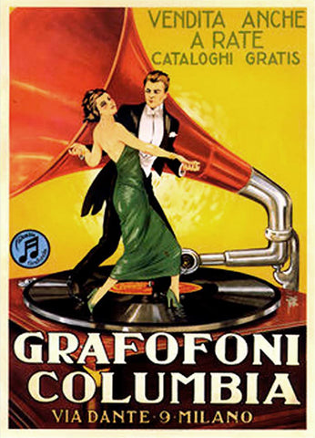 "Dance ""Grafofoni Columbia"" Classic Italian Dancing Vintage Advertising Poster Reprint - PostermaniaWest"