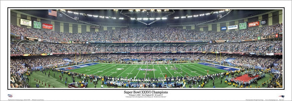b329c1514 Super Bowl XXXVI (2002) Patriots vs. Rams Panoramic Poster Print -  Everlasting Images – Sports Poster Warehouse