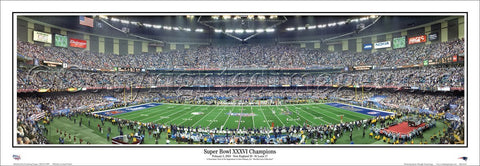 Super Bowl XXXVI (2002) Patriots vs. Rams Panoramic Poster Print - Everlasting Images