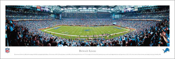 Detroit Lions Ford Field NFL Gameday Panoramic Poster - Blakeway Worldwide