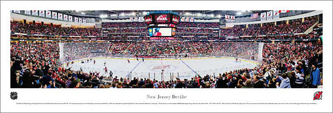 New Jersey Devils Prudential Center NHL Game Night Panoramic Poster Print - Blakeway Worldwide