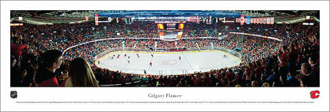 Calgary Flames Saddledome Game Night NHL Hockey Panoramic Print - Blakeway Worldwide