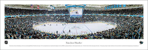 San Jose Sharks HP Pavilion NHL Game Night Panoramic Poster Print - Blakeway Worldwide