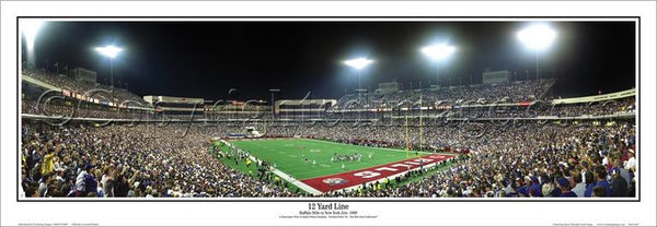 "Buffalo Bills ""12 Yard Line"" Ralph Wilson Stadium 1999 NFL Game Night Panoramic Poster Print - Everlasting Images"