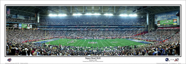 New York Giants Super Bowl XLII (2008) vs. Patriots Panoramic Poster Print - Everlasting Images