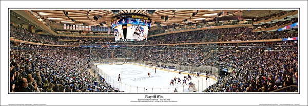 "New York Rangers ""Playoff Win"" Madison Square Garden Game Night Panoramic Poster Print - Everlasting Images"