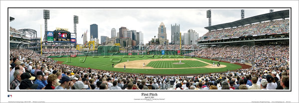 Pittsburgh Pirates PNC Park First Pitch (4/9/2001) Panoramic Poster Print - Everlasting