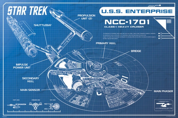 Star Trek USS Enterprise (NCC-1701) Spaceship Blueprint Poster - Pyramid America