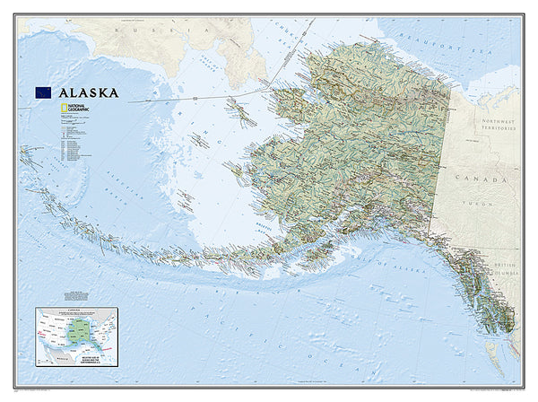 Map of Alaska National Geographic Classic Edition 30x40 Wall Map Poster - NG Maps