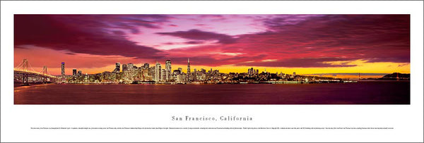 "San Francisco, California ""Orange Dusk"" Skyline Panoramic Poster Print - Blakeway Worldwide"