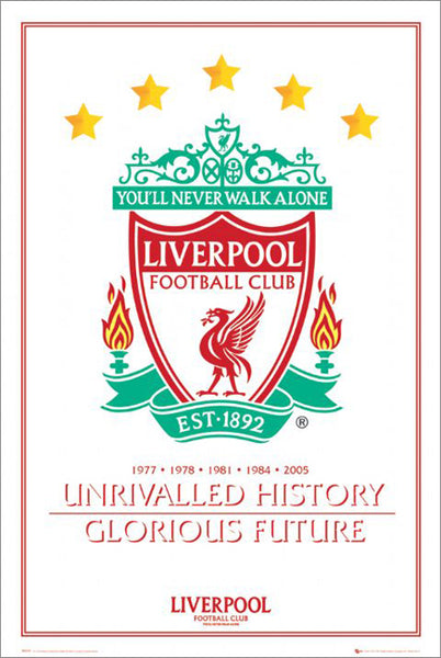 "Liverpool FC ""Unrivalled History"" Team Crest Classic Poster - GB Eye (UK)"