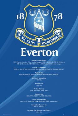 "Everton FC ""Honours"" Historical EPL Soccer Crest and Championships Poster - GB Eye (UK)"