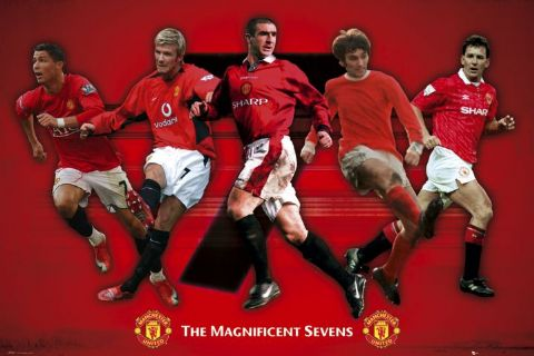 "Manchester United ""Magnificent Sevens"" Poster (Ronaldo, Owen, Beckham, Cantona, Best) - GB Eye (UK)"