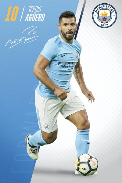 "Sergio Aguero ""Superstar"" Manchester City FC Official EPL Football Poster - GB Eye 2017/18"