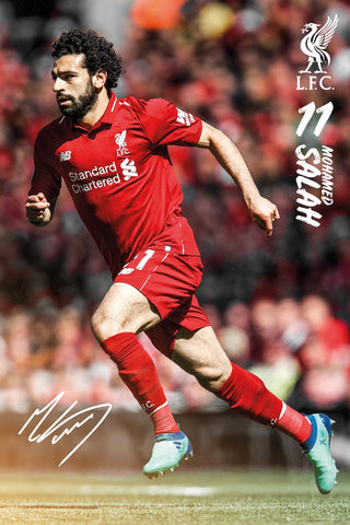 "Mo Salah ""Superstar"" Signature Series Liverpool FC Official EPL Soccer Poster - GB Eye 2018/19"