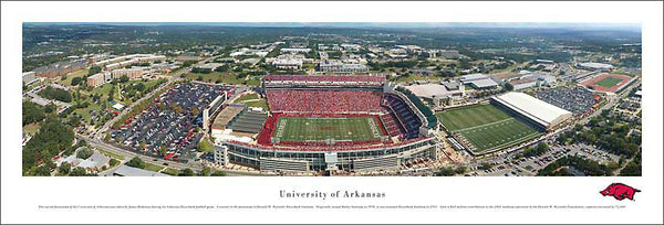 University of Arkansas Football Gameday Aerial Panoramic Poster Print - Blakeway