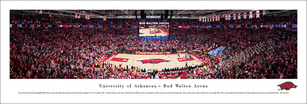 Arkansas Razorbacks Basketball Bud Walton Arena Game Night Panoramic Poster Print - Blakeway 2018