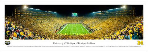 "Michigan Stadium ""Under the Lights"" (2011) Panoramic Poster Print - Blakeway Worldwide"