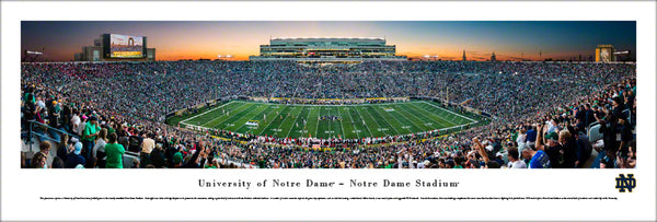 Notre Dame Fighting Irish Football Game Night 2017 Panoramic Poster Print - Blakeway Worldwide