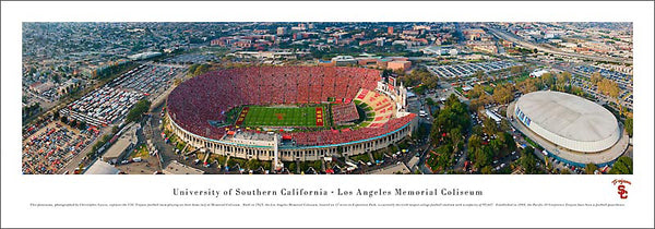 University of Southern California Trojans Football Gameday Aerial Panoramic Poster Print - Blakeway Worldwide