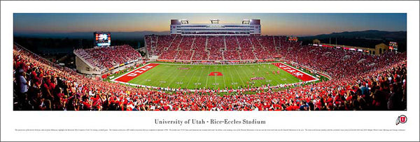 Utah Utes Football Game Night Panoramic Poster Print - Blakeway Worldwide