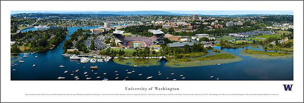 University of Washington Football Gameday Aerial Panoramic Poster Print - Blakeway Worldwide