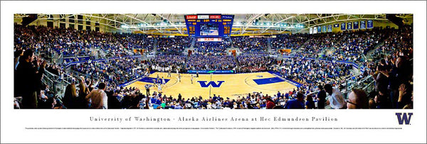 "Washington Huskies Basketball ""Pavilion Game Night"" Panoramic Poster Print - Blakeway"