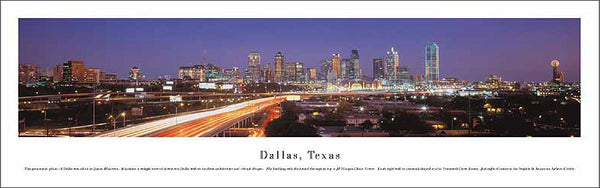 Dallas, Texas Downtown Skyline at Dusk Panoramic Poster Print - Blakeway Worldwide
