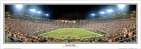 "Lambeau Field ""Monday Night"" Green Bay Packers Panoramic Poster Print - Everlasting Images"