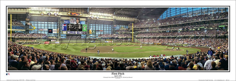 "Miller Park Milwaukee Brewers ""First Pitch"" Panoramic Poster Print - Everlasting 2001"