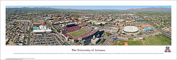 University of Arizona Aerial Panoramic Poster Print - Blakeway Worldwide