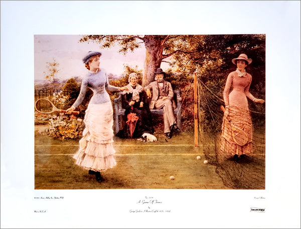 "Tennis Classic ""A Game of Tennis"" Art Poster Print by George Goodwin Kilburne - Aaron Ashley Inc."