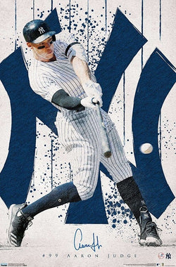 "Aaron Judge ""Pinstripe Blast"" New York Yankees MLB Signature Action Poster - Trends 2020"