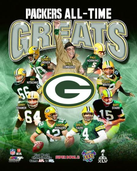 "Green Bay Packers ""All-Time Greats"" (9 Legends, 4 Super Bowls) Premium Poster Print - Photofile Inc."